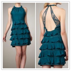 Rebecca Taylor Silk Teal Tiered Dress Size 4 EUC!!